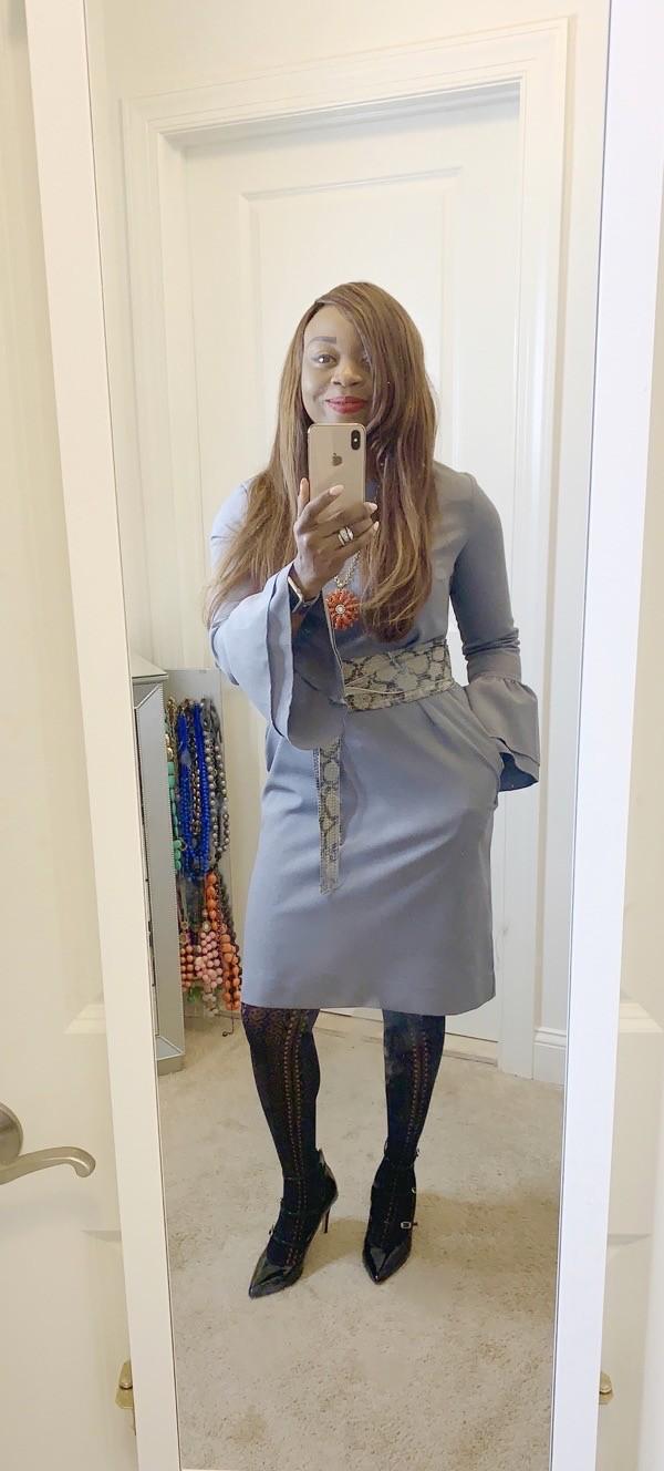 Statement sleeve sheath dress and snakeskin belt