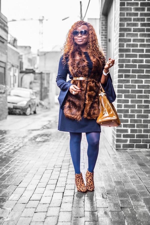 Donna Morgan sheath dress and cheetah boots
