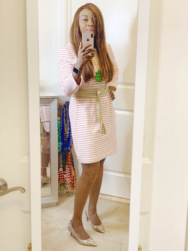 J. Crew Factory striped dress and snakeskin pumps
