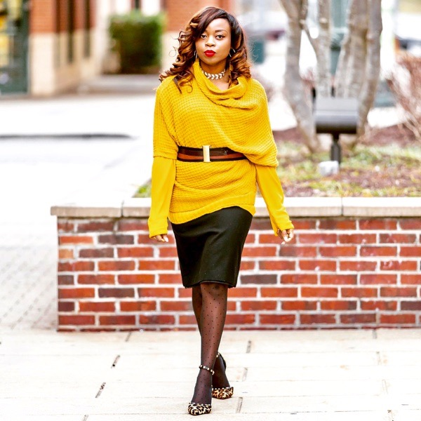 Mustard yellow sweater and leopard print pumps