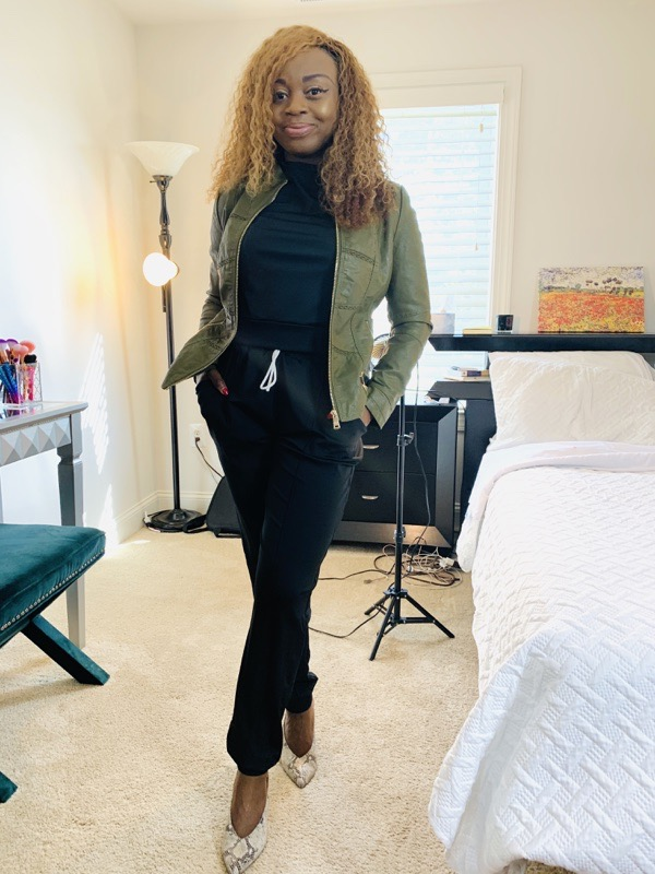 lovely wholesale review black jogger set with green leather jacket