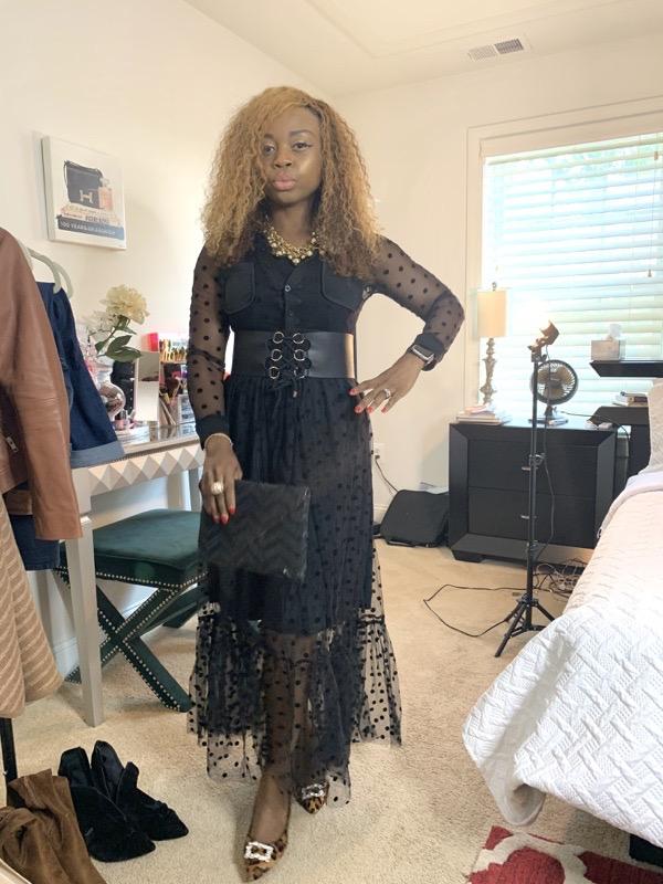 lovely wholesale review black see-through polka dot dress
