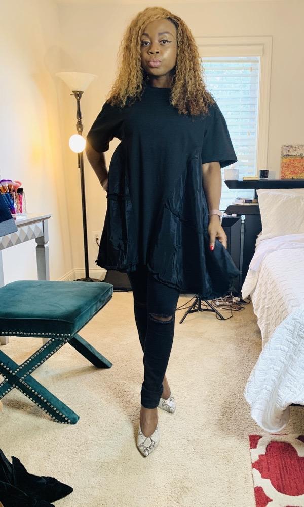 lovely wholesale black patchwork tshirt dress