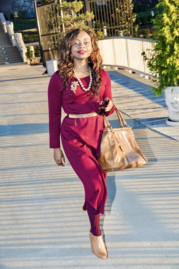 tokestakeonstyle-how-to-style-a-burgundy-sweater-dress-tan-YSL-bag