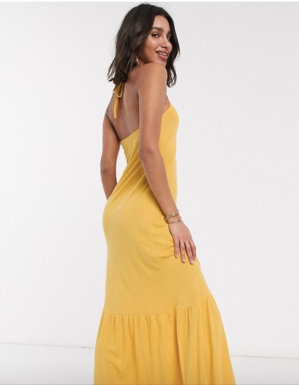 wearable-summer-2020-fashion-trends-Asos-mustard-yellow-halter-neck-dress
