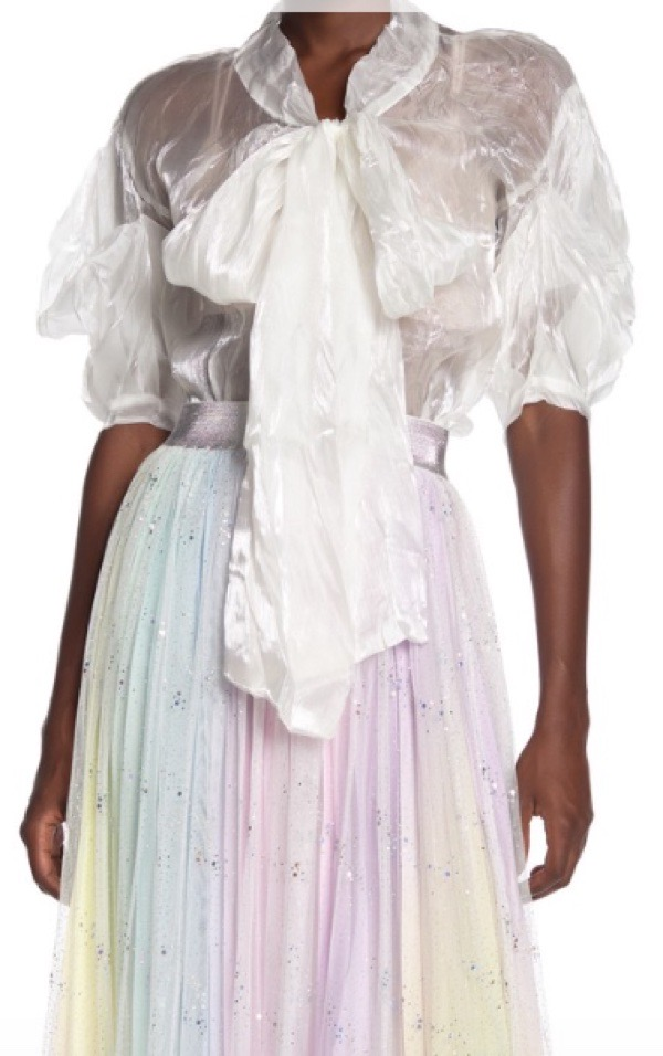 wearable-summer-2020-fashion-trends-TOV-white-puff-sleeve-bow-tie-blouse-nordstromrack