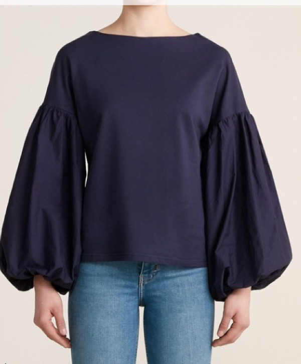 wearable-summer-2020-fashion-trends-navy-blue-puff-sleeve-top-century21