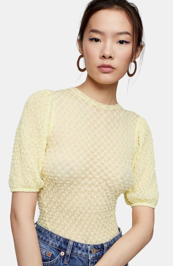 wearable-summer-2020-fashion-trends-yellow-textured-topshop-puff-sleeves-nordstrom