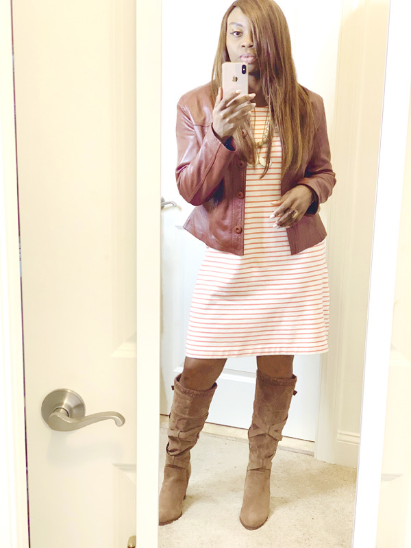 cute-thanksgiving-outfit-ideas-striped-dress-tall-boots
