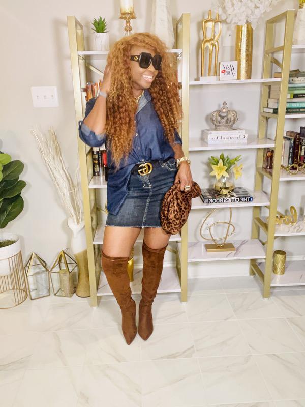 denim-on-denim-denim-mini-skirt-brown-over-the-knee-boots-animal-print-clutch-Gucci-oversize-sunglasses
