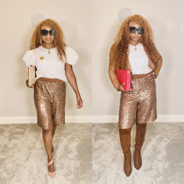 summer-to-fall-transition-outfits-sequin-shorts-leather-jacket