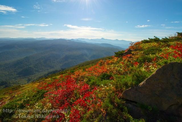 紅葉と日光の山