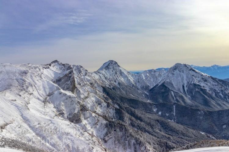 硫黄岳山頂から赤岳・阿弥陀岳・横岳