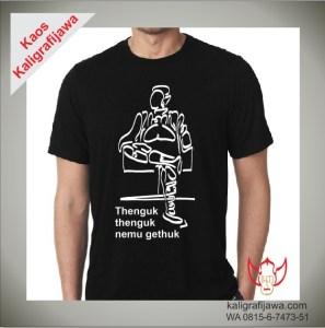 Kaos KaligrafiAksara Jawa Gambar Orang Thenguk-thenguk