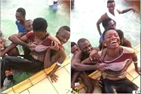 Boys Caught on Camera Squeezing  a Girl's Chest Rudely in Swimming Pool - (Photos)