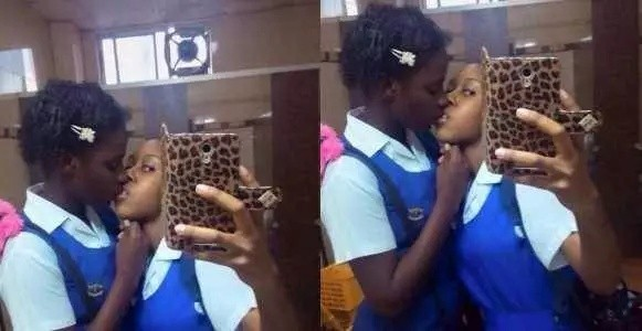 Two Spoilt Teenage School Girls Caught Locking Lips Passionately in Classroom
