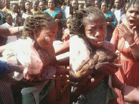 Woman Beaten and Stripped N3ked for Stealing Chicken in Anambra  (Photos)