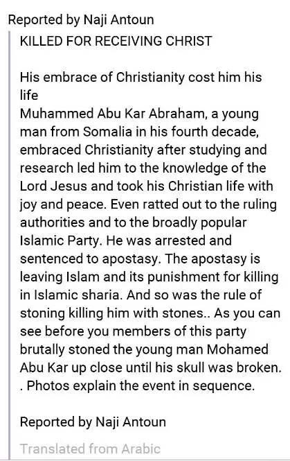 Man Stoned to Death for Converting From Islam to Christianity in Somalia