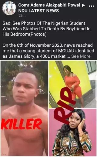 Stabs His Girl to Death