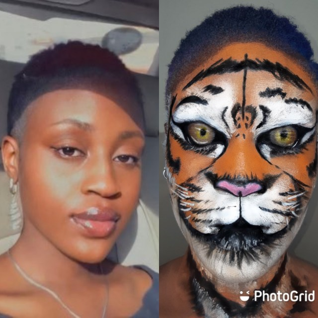 She's Not A Tiger - Nigerians React After Pretty Girl Turns Her Face To Tiger Using This