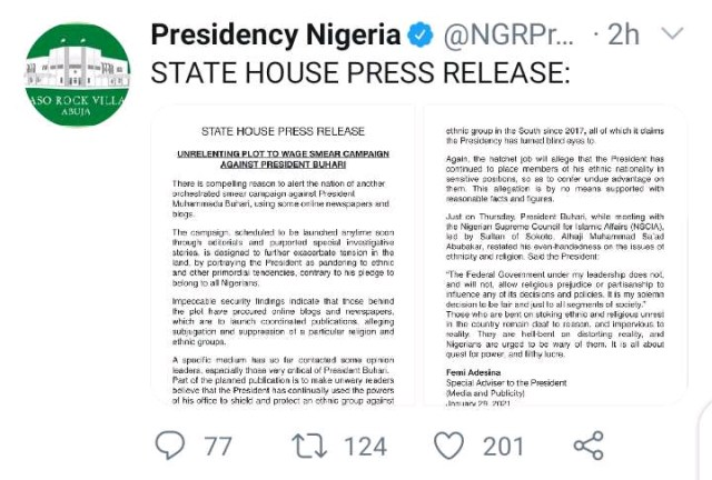 Presidency Alerts Nigerians Of A Planned Attack On President Buhari