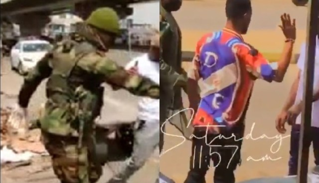 Hilarious Video of Soldier Forcing Two Friends to Slap Each Other for Refusing to Wear Face Mask