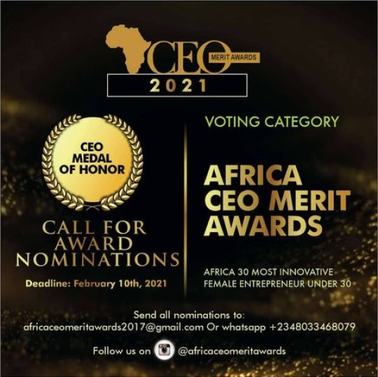 AFRICA CEO MERIT AWARDS (ACMA) 2021, CALL FOR NOMINATIONS