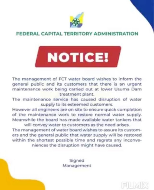 Water Scarcity in Abuja: A Gallon Of Water Now Sells For N100 Instead of N30