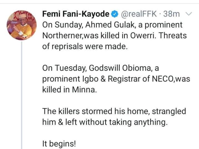 """REPRISAL ATTACK: """"Gulak Was Killed On Sunday In Owerri, Obioma Killed In Minna On Tuesday""""- FFK"""