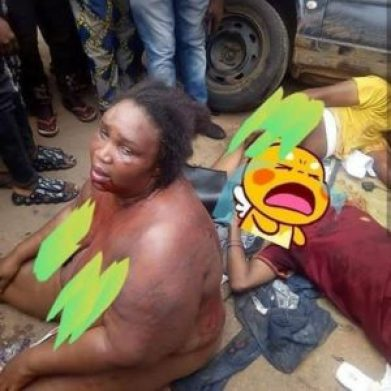 Female Robber Str1pped N3kked and B3aten to Stup0r with Her Gang After Being Caught Robbing in Benin