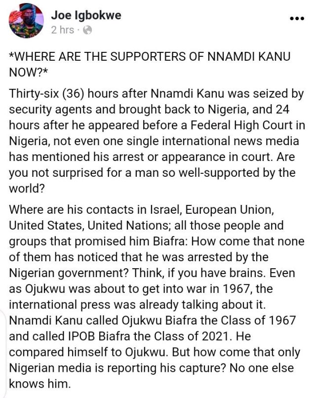 Where Are His Contacts In Israel, EU, UN & Others That Promised Him Biafra? Igbokwu Shades Nnamdi Kanu