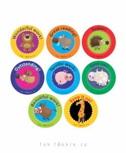 tok tokkie Teachers Reward Labels – ANIMALS 2