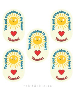 tok tokkie Teachers Reward Labels – Sunshine