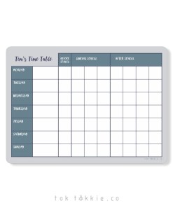 Toktokkie Magnetic Timetable A4+ Blue-Grey