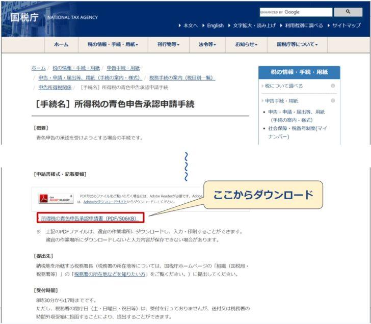 国税庁_青色申告承認申請書ダウンロード先
