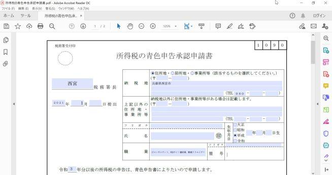 青色申告承認申請書_PDF書き方イメージ