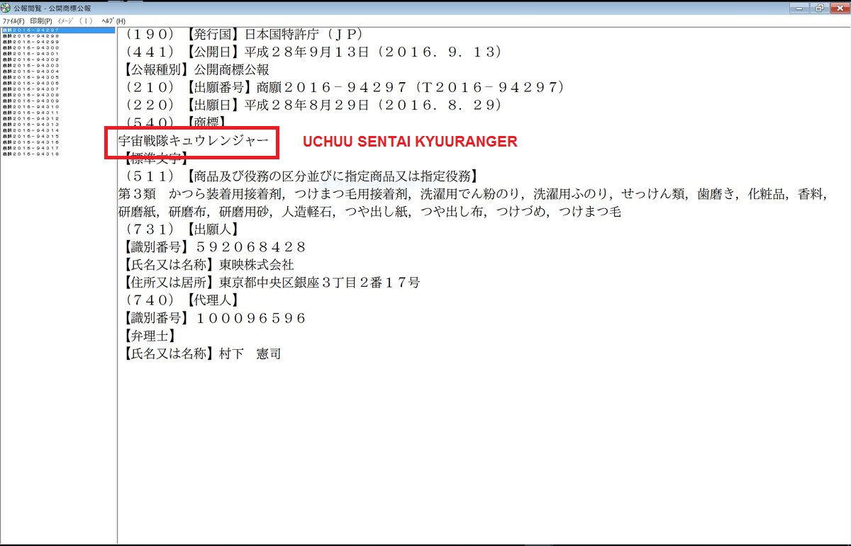 Uchuu Sentai Kyuuranger, 41st Super Sentai Series, Copyright Registered