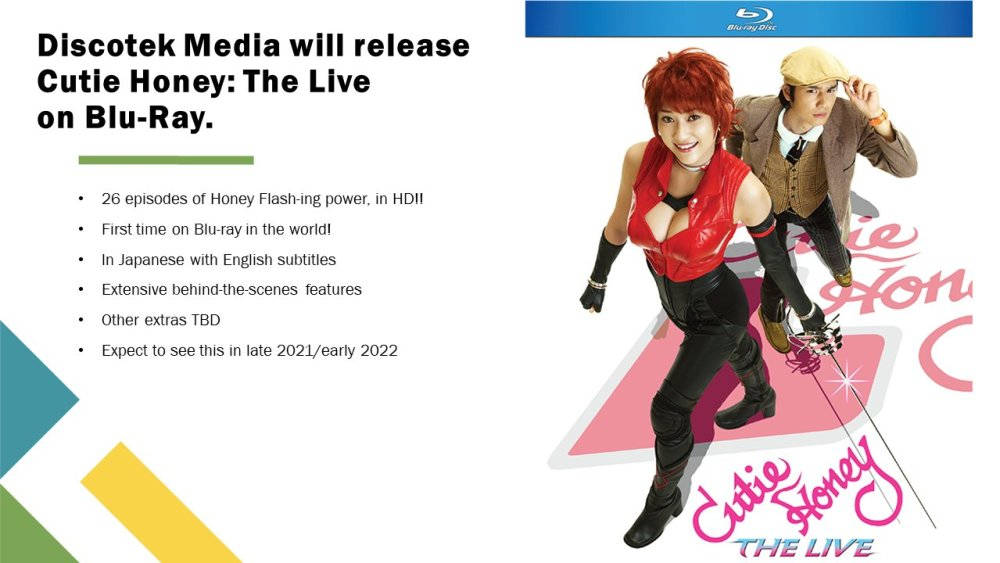 Cutie Honey and a member of the supporting cast on top of the logo, with information about the Blu-ray to the left of them
