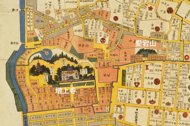 愛宕山・増上寺周辺の古地図(江戸時代後期の芝愛宕下絵図)