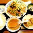 野菜炒めと餃子のセット