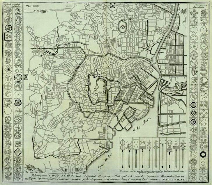 江戸の都市計画図(ニューヨーク国立図書館蔵)