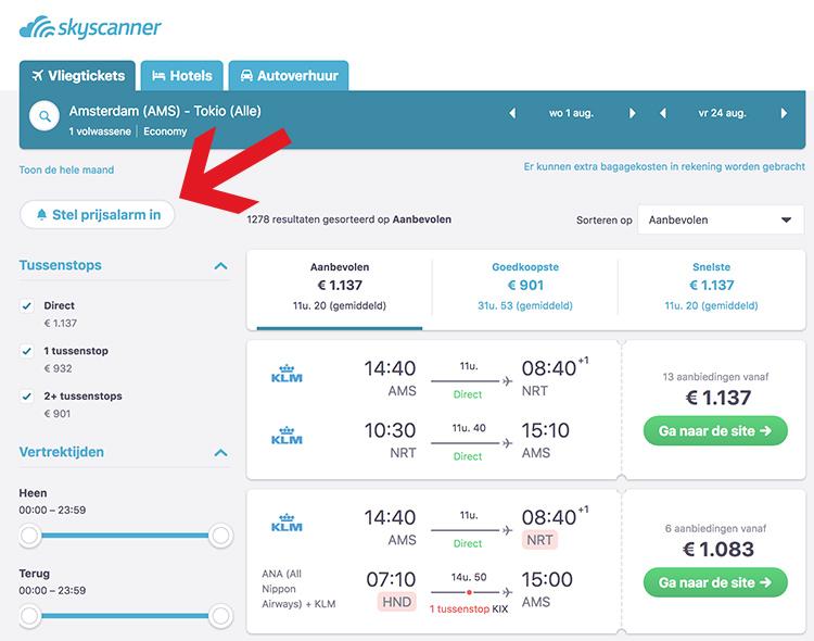 Skyscanner prijsalarm instellen