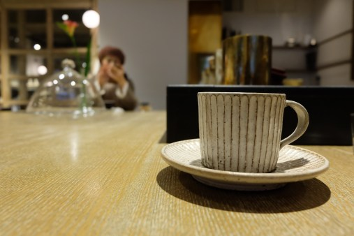 Cup and Coffee close up at Cobi Coffee Aoyama Tokyo Japan