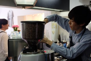 Barista making espresso at Light Up Coffee Kichijoji Tokyo Japan Cafe