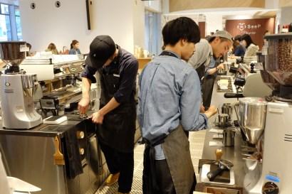 Baristas Preparing Coffee at Blue Bottle Coffee Shinjuku Japan Tokyo