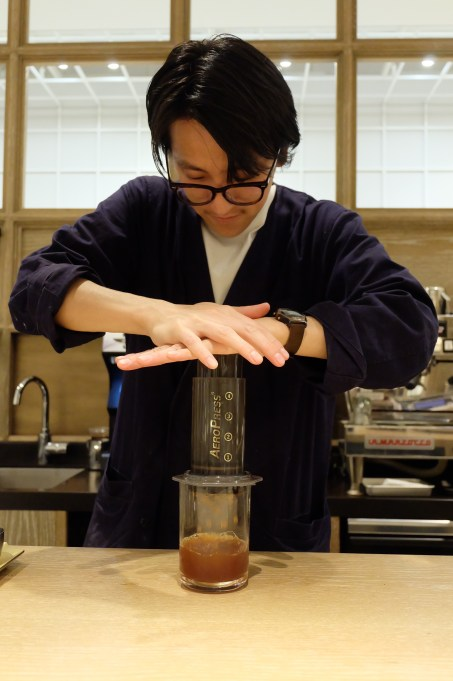 Barista Making Coffee at Cobi Coffee Box Shinjuku Tokyo Japan