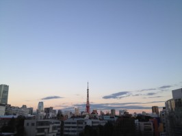 Tokyo Tower at sunset on a cold day
