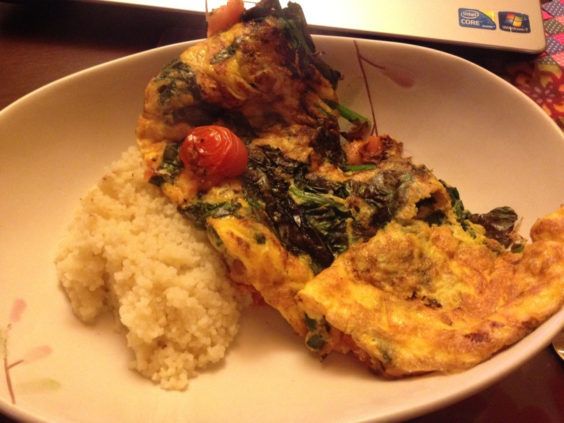 Tomato, Spinach & Smoked Salmon Omlette with Cous Cous