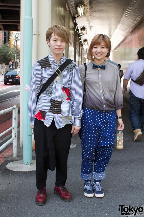 Japanese couple in patchwork shirt and bow tie