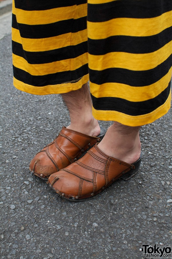 Striped pants & patchwork leather clots
